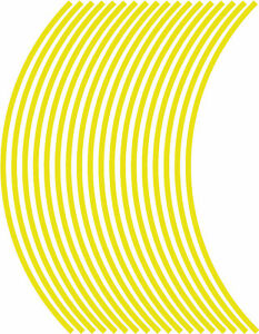 5mm wheel rim tape striping stripes stickers YELLOW..(38 pieces/9 per wheel)