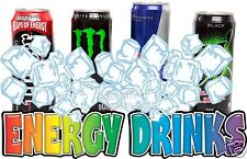 "Energy Drinks Decal 14"" Ice Cold Concession Food Truck Vinyl Menu Sign Sticker"
