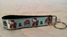 Handcrafted Hello Kitty on Blue Key Chain Wristlet New Free Shipping