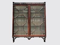 19TH C ANTIQUE MAHOGANY CENTENNIAL CHINESE CHIPPENDALE FRETWORK WALL CABINET