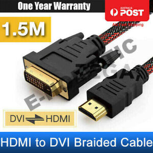 HDMI to DVI Cable Male DVI-D for LCD Monitor Computer PC PS Projector DVD Cord