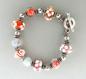 Murano Art Glass Bead Lampwork Floral Bali Silver Plated Toggle  Bracelet 7.5