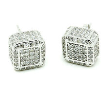 Ice Cube Earrings Box CZ Cubic Zirconia White .925 Sterling Silver Jewelry 10mm