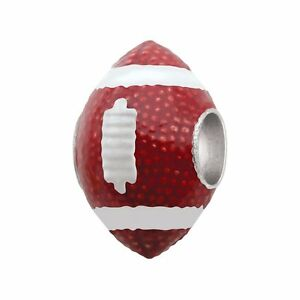 Persona Sterling Silver Brown Red American Football Touchdown European Charm NIB