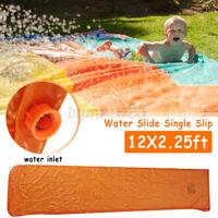 Water Slide Single Slip Slide Kids Swimming Pool Games Toys 12x2.25FT PVC