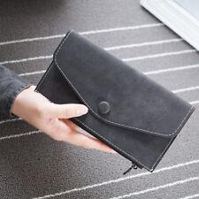Weibliche raffinierte matte Leder Geldbörse Lange Mappe Schnalle Clutch-Bag PAL