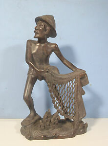 Vintage Bali Indonesia Hand Carved Exotic Wood Fisherman Net Coral mid 1900s ww