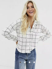 Wednesday's Girl Shirt Top White In Grid Print Long Sleeve Size S 10 12 ED24 New