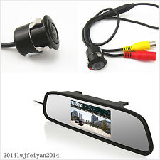 """Car Rear View 4.3"""" LCD Display Mirror Monitor+Reverse Parking Camera With Drill"""