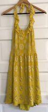 Anthropologie Lauren Moffatt Women's Yellow Silk Halter Dress Size 6 Retro Boho