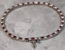 Estate 14K White Gold 1.05ctw Diamond Ruby Tennis Bracelet