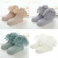 Kids Girl Lace Cotton Socks Ruffle Frilly Ankle Short Socks Baby Princess Infant