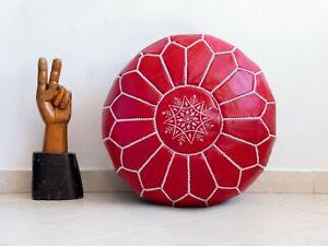 Moroccan Leather Handmade Pouf Ottoman Red Floor Cushion Stool Footstool Yoga