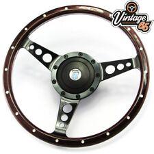"Classic Mini 13"" Retro Riveted Dark Wood Rim & Black Steering Wheel & Boss Kit"