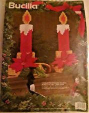 Bucilla 1994 Christmas Plastic Canvas Kit 2 Candlestick Stocking Holders 8.5""