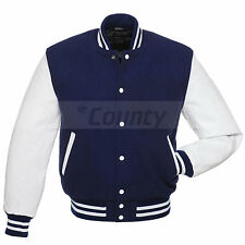 Varsity College Baseball Jacket Navy Blue Wool Body & White Real Leather Sleeves