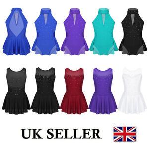 UK Girl Modern Tap Dance Leotard Dress Gym Ballet Skating Costume Tutu Dancewear