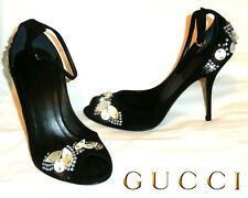 GUCCI ~ NEW Jeweled luxury open toes Suede Heels ~ US: 7-7.5 ; EUR: 37-37.5