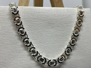 925 Genuine Sterling Silver 8mm Byzantine type Chain All Sizes