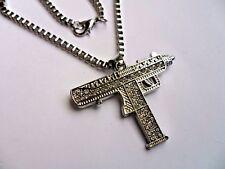 "Silver  Uzi Pendant Hip-Hop 24"" Chain Necklace Chain Crystal  Machine Gun"