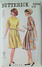 "34"" Vintage 1960s Cowl Neck Dress Sewing Pattern Butterick 3250"