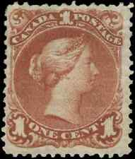 Canada #22 mint F-VF part OG H 1868 Queen Victoria 1c brown red Large Queen