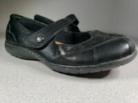 Cobb Hill Petra New Balance Womens Sz 7W Black Leather Mary Jane Flat Shoes WIDE