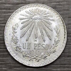 1945 Mexico Un Peso Cap & Rays Silver Coin (G101)