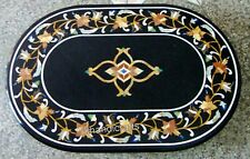 Marble Sofa Table Top Black Office Table Inlay with Multi Gemstones 24 x 36 Inch