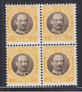 Danish West Indies Sc 50 MNH. 1907 50b yellow & brown King Frederick, block of 4