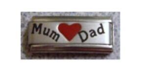 Italian Charms L103  SuperLink Mum Dad Love  Fits Classic Size Bracelet