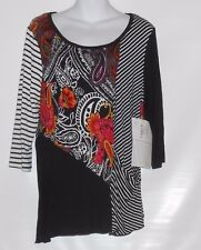 Onque Casual Petite Stretch Colorblock 3/4 Sleeve Top Black PL NWT