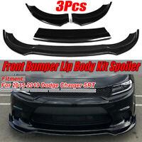 3PCS Front Bumper Lip Body Kit Spoiler Splitter For 2015-2019 Dodge Charger SRT
