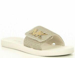 Women Michael Kors MK Logo Glitter Chain Mesh Slide Sandals Light Gold