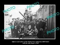 OLD LARGE HISTORIC PHOTO POLAND MILITARY POLISH NAVY SUBMARINE ORP SOKOL c1940