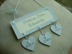 PERSONALISED BABY BOY BIRTH KEEPSAKE PLAQUE WITH HANGING HEARTS