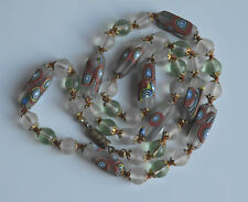 Vintage Japenese Tonbo Dama Lampwork Millefiori NECKLACE clear frosted glass