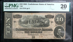 T-68 1864 $10 Ten Dollar CSA Confederate Note  PMG 20 VERY FINE  PF-3