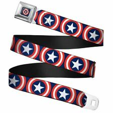 "Marvel Captain America Shield Repeat Navy Webbing Seatbelt Buckle Belt (20-36"")"