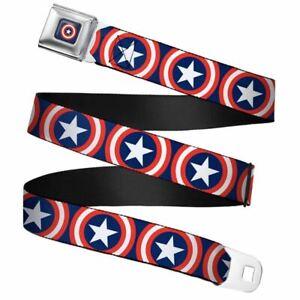 "Marvel Captain America Shield Repeat Navy Webbing Seatbelt Buckle Belt (20-36"")"