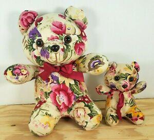 Vintage Lot 2 Milaca Mills Teddy Bears Floral Roses Stuffed Plush Fabric 1989