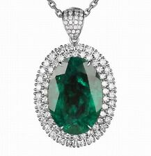 1.60Ct 14KT Solid White Gold Natural Green Emerald EGL Certified Diamond Pendant
