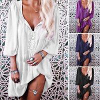 Mode Femme Robe Cravate Manches élastiques Lace Casual Loose Mini Boutons Dresse