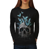 Wellcoda Skull Eyes Art Womens Long Sleeve T-shirt, Head Casual Design