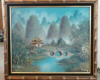 H.S. LEUNG SIGNED ASIAN ORIGINAL OIL PAINTING ON CANVAS FRAMED 28X24