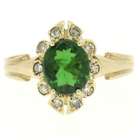 Vintage 14k Yellow Gold 1.15ctw Green Tourmaline Solitaire & Diamond Halo Ring