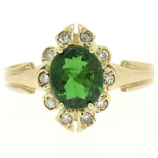 VINTAGE 14k ORO AMARILLO 1.15ctw Verde Turmalina Solitario & Anillo Diamante