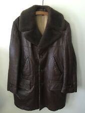 Vintage 1970s Leather Car Coat Shearling Collar Sz M/L