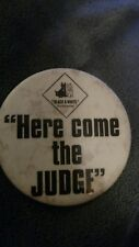 "Vtg Antique Black&White Scotch Whiskey Advertising Dog button PINBACK""the judge"""