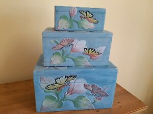 BUTTERFLY WOODEN HANDCRAFTED NESTING BOXES WITH HINGED LIDS - SET OF 3